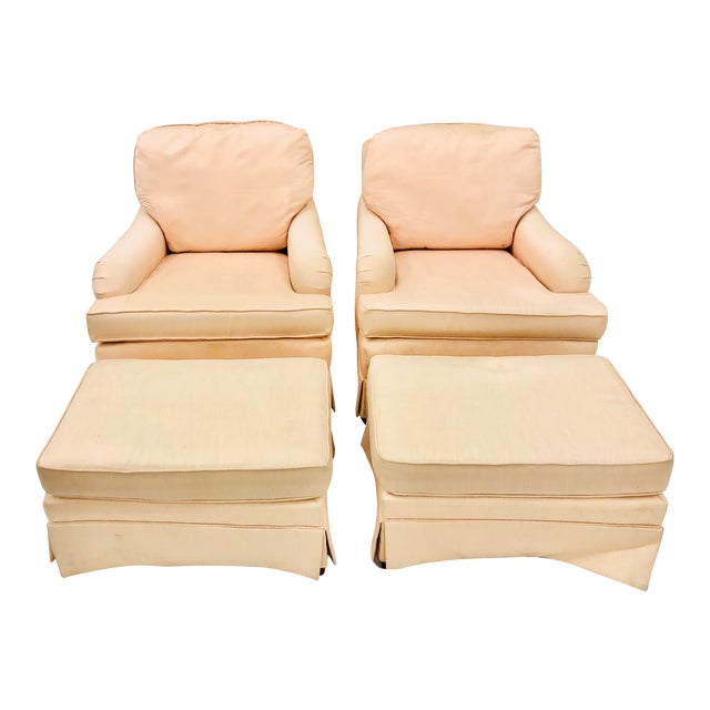 Vintage Pair Club Chairs & Matching Ottomans For Sale