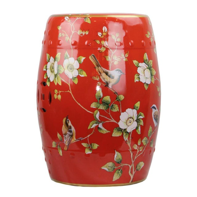 Asian Pasargad DC Modern Contemporary Floral Porcelain Garden Stool For Sale - Image 3 of 5