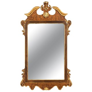 La Barge Italian Burl and Gilt Georgian Style Mirror For Sale