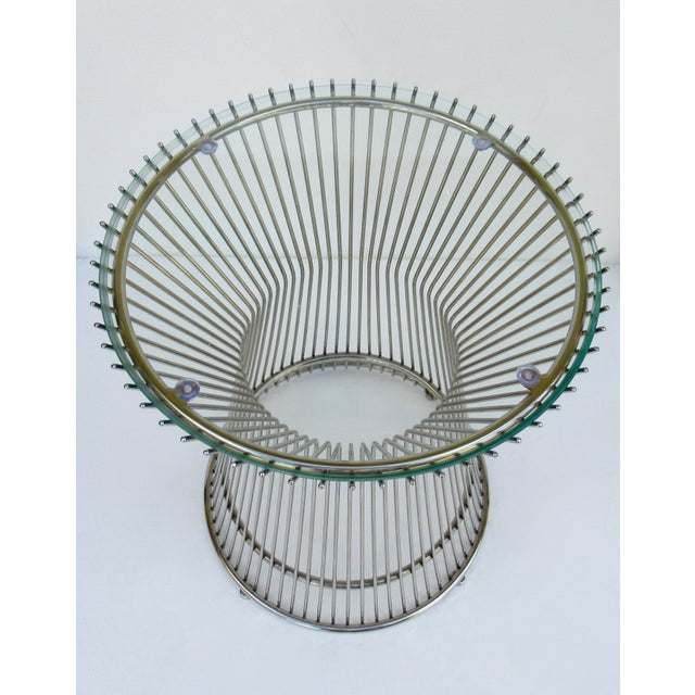Warren Platner-Style Polished Steel and Glass Round Accent, Side Table For Sale In West Palm - Image 6 of 13