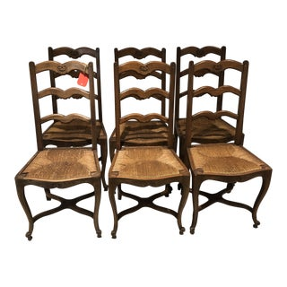 1930s Vintage French Farm Chairs- Set of 6 For Sale