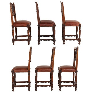 19th Century Vintage Italian Renaissance Style Walnut Dining Chairs, Set of 6 Preview