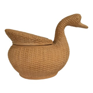 Large - Italian Lidded Terra-Cotta Wicker Design Duck Shaped Container For Sale