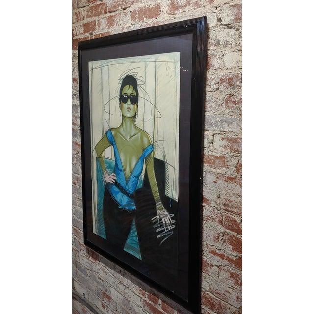 Dennis Mukai - Model W/Black Sunglasses- Original 1980s Serigraph -Signed For Sale In Los Angeles - Image 6 of 9
