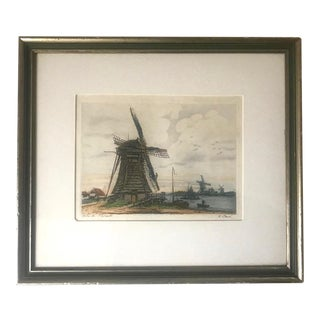 Watercolor Windmill Signed by French Artist V. Carre For Sale
