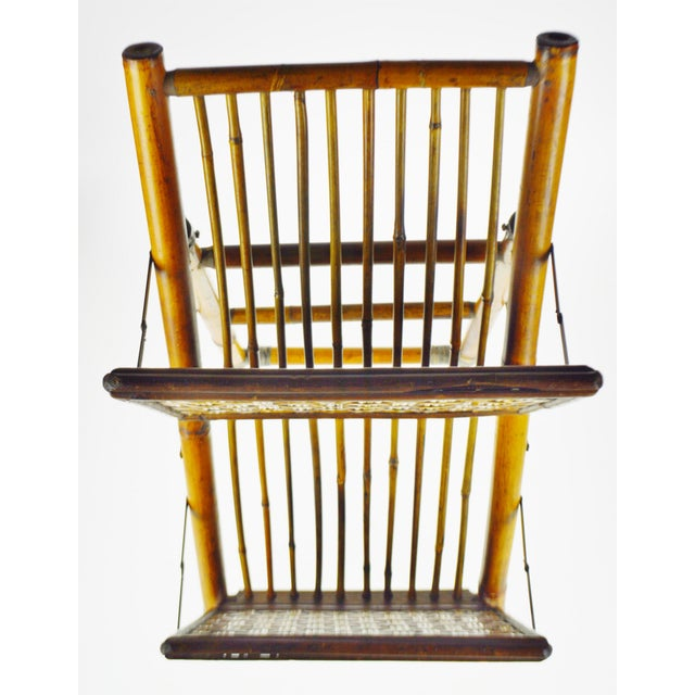 Mid Century Bamboo and Rattan Two Tier Folding Magazine Rack For Sale - Image 4 of 13