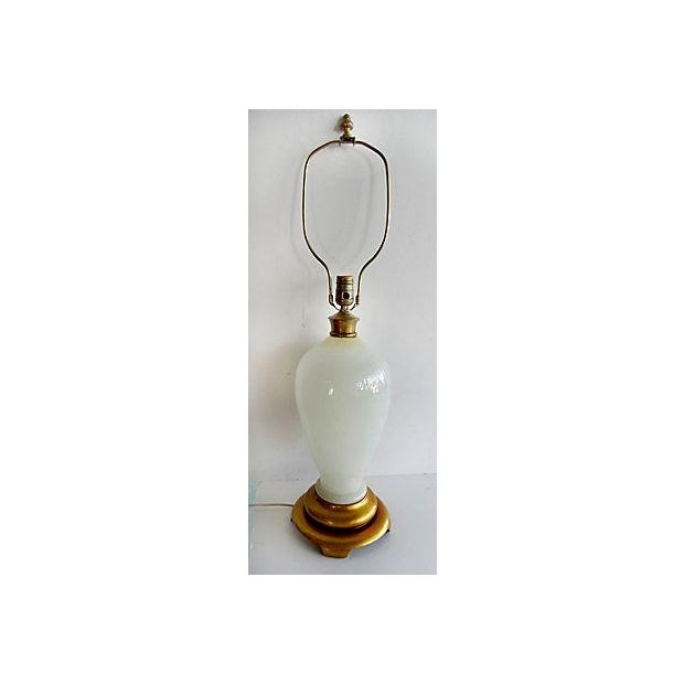 Traditional Opaline Glass Table Lamp With A Gilt-Wood Base For Sale - Image 3 of 7