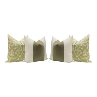 Spanish Moss Linen Scroll Print & Velvet Panel Pillows - Set of 4
