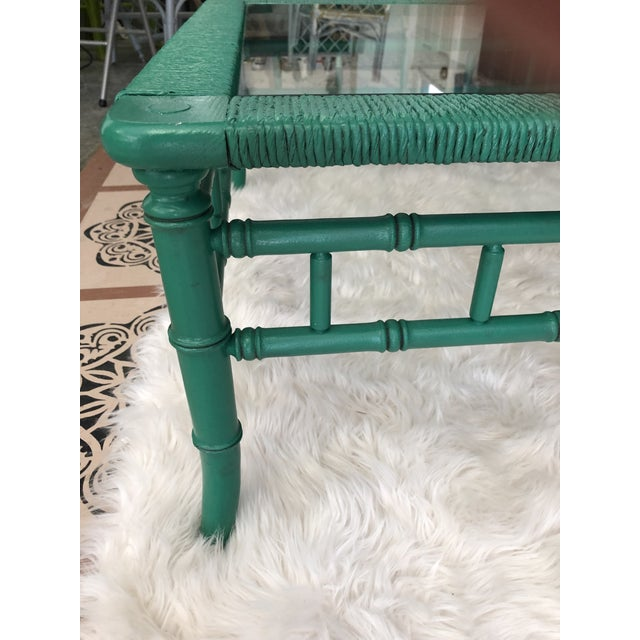 1970s Emerald Green Bamboo Rattan Coffee Table For Sale - Image 5 of 11