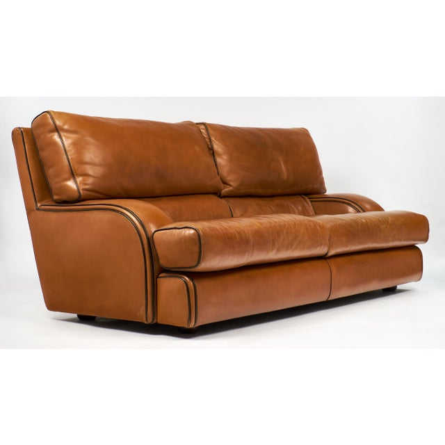 Vintage Baxter Italian Leather Sofa For Sale - Image 5 of 10