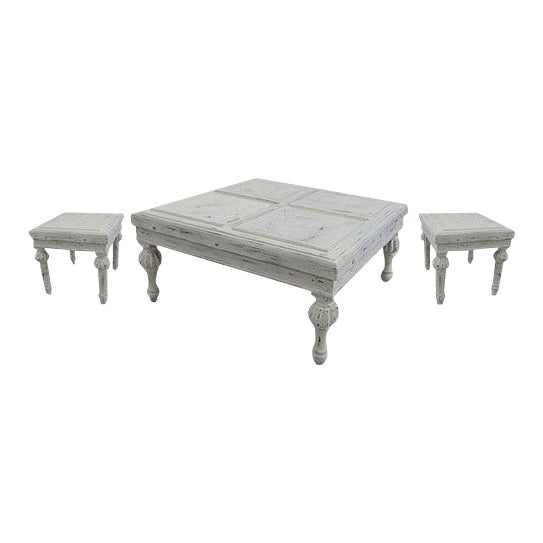 Ornate White Wash Side Table For Sale