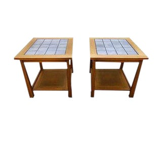 Brandt Ranch Oak Pair of Mission Arts & Crafts Style End Tables W/ Tile Tops For Sale