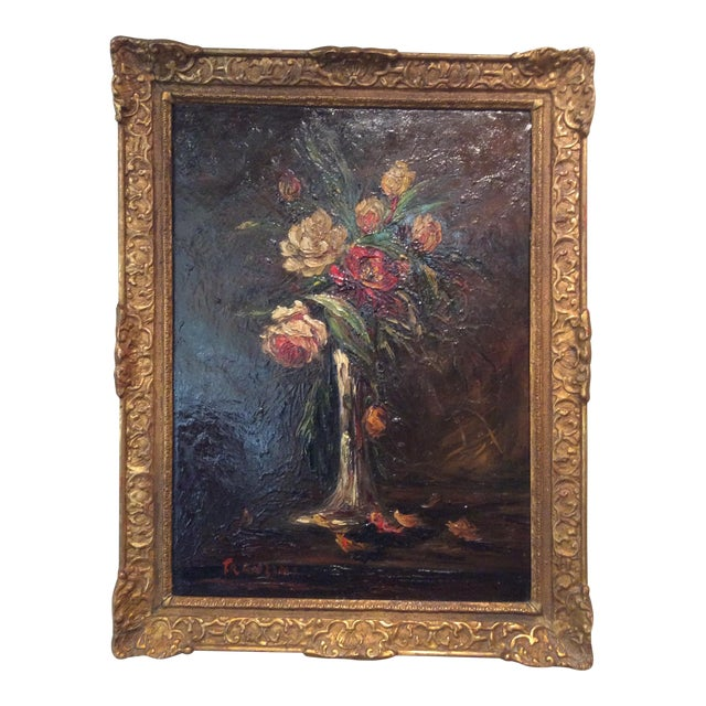 Pair of 1900s Original French Floral Still Life Paintings by Charles Franzini D'Issoncourt For Sale