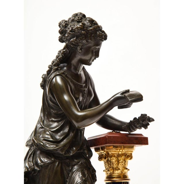 Bronze Exquisite French Bronze, Rouge Marble, and Sèvres Style Porcelain Sculpture For Sale - Image 8 of 13