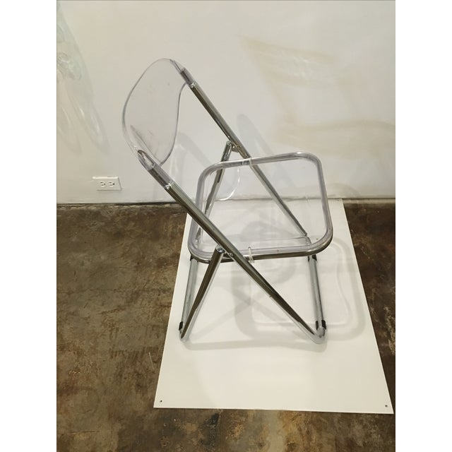 Mid Century Modern set of Six Lucite and Metal Folding Chairs - Image 5 of 7