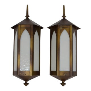 Gothic Revival Hexagonal Exterior Sconces - a Pair For Sale