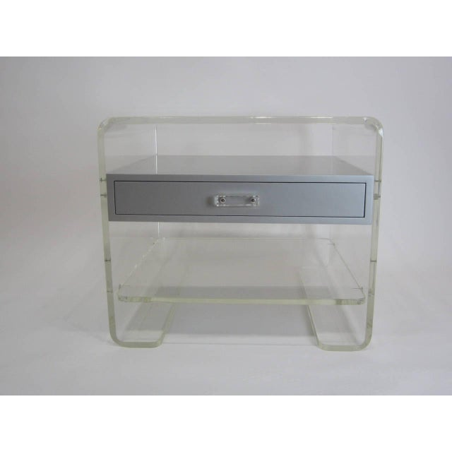 Lucite Side Table with Silver Metallic Drawer - Image 5 of 6