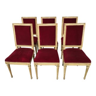 Late 19th Century Italian Red Upholstery Dining Chairs - Set of Six For Sale