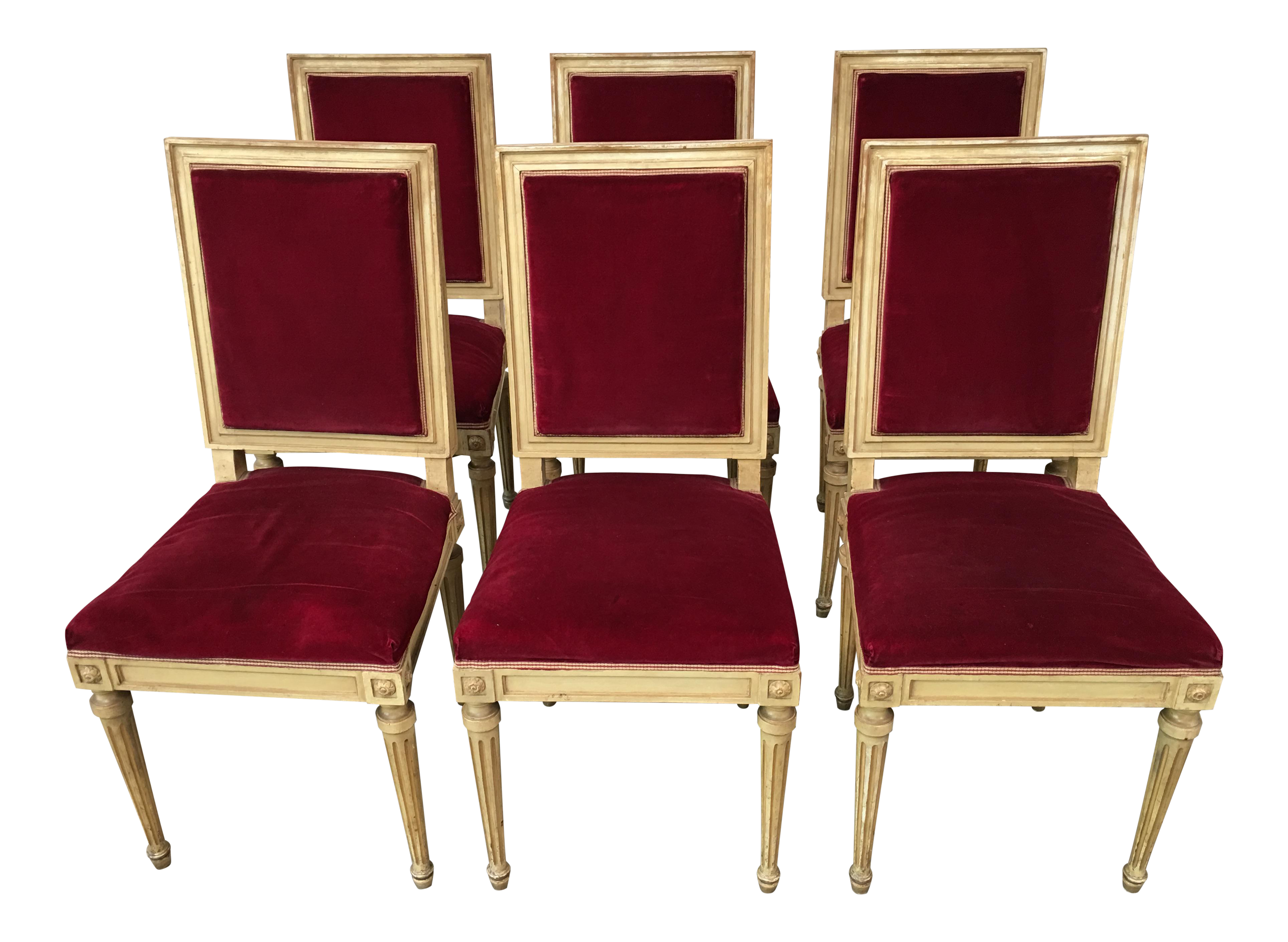 Late 19th Century Italian Red Upholstery Dining Chairs   Set Of Six