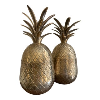 1960s Vintage Solid Brass Lidded Pineapple Containers - A Pair For Sale