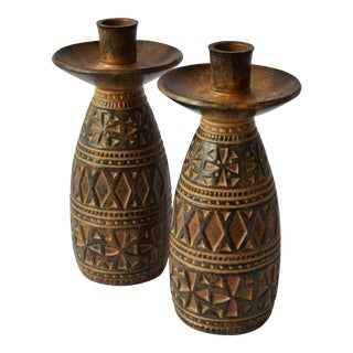 Mid-Century Textured Ceramic Candle Holders - a Pair For Sale