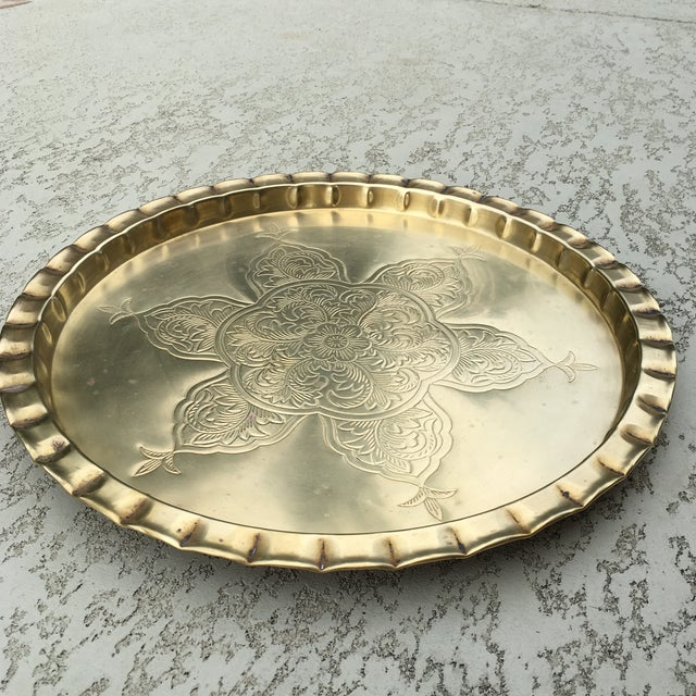 Vintage Round Bohemian Mid-Century Brass Tray For Sale In Austin - Image 6 of 11