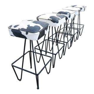 1950s Vintage Iron Bar Stool- Set of 5 For Sale