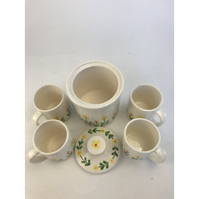Asian White 1960's Japanese Coffee Cups and Canister - Set of 5 For Sale - Image 3 of 11