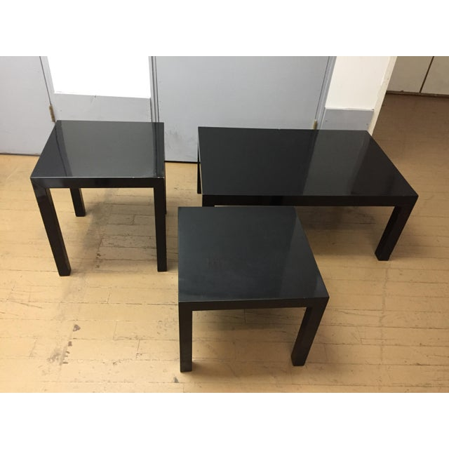 Vintage 1970's Black Lacquer Occasional Tables - Set of 3 For Sale - Image 11 of 12