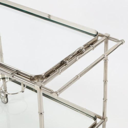 Mid-Century Modern 1960S SWEDISH POLISHED-NICKEL, FAUX-BAMBOO BAR CART ON CASTERS For Sale - Image 3 of 10