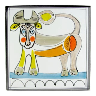 1960s DeSimone Hand Painted Cow Bull Ceramic Tile For Sale