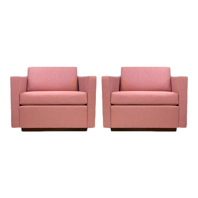 Pair of Harvey Probber Cube Lounge Chairs on Walnut Plinth Bases For Sale