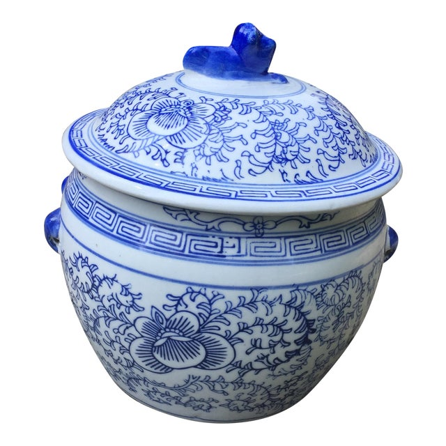 Blue White Chinese Foo Dog Covered Ginger Jar For Sale