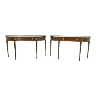 Pair Hekman 1 Drawer Figural Mahogany Console Tables For Sale