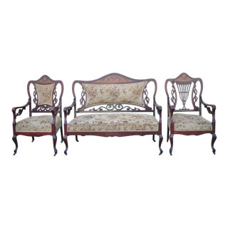 Antique Victorian Mother of Pearl Satinwood Inlay Mahogany Parlor Set - 3pc Set For Sale