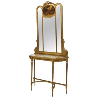 French Vernis Martin Style Giltwood Mirror and Console, 19th Century For Sale