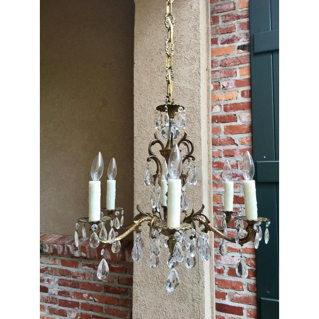 Vintage Six Light French Brass and Crystal Chandelier For Sale - Image 9 of 13