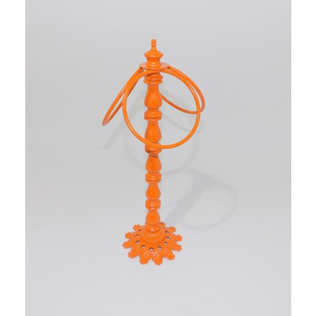 Metal Vintage Orange Metal Hand Towel Holder For Sale - Image 7 of 7