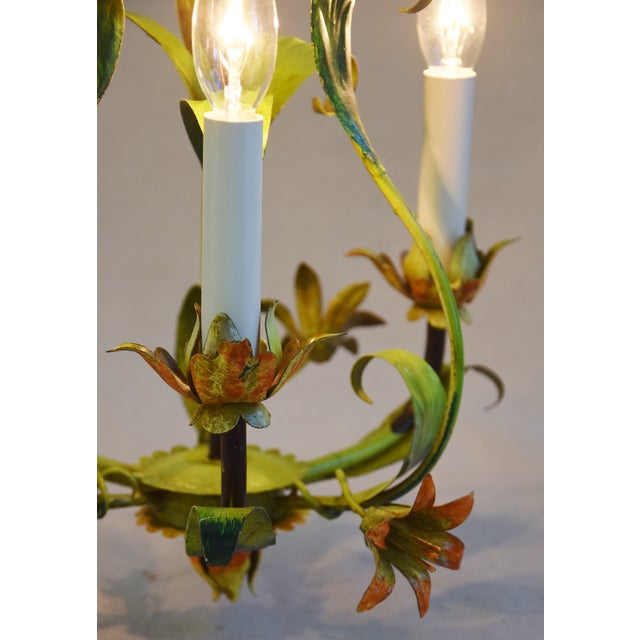 Vintage Italian Three Arm/Light Lily Flower Tole Chandelier - Image 4 of 11