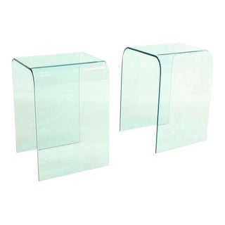 "Mid-Century Modern Bent Glass ""Ghost"" End Tables- a Pair For Sale"