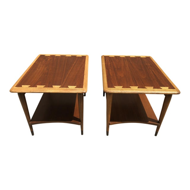 1950s Mid-Century Modern Lane Furniture Acclaim Dovetail End Tables - a Pair For Sale