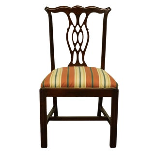 1960s Vintage Antique Solid Cherry Chippendale Style Dining Side Chair For Sale