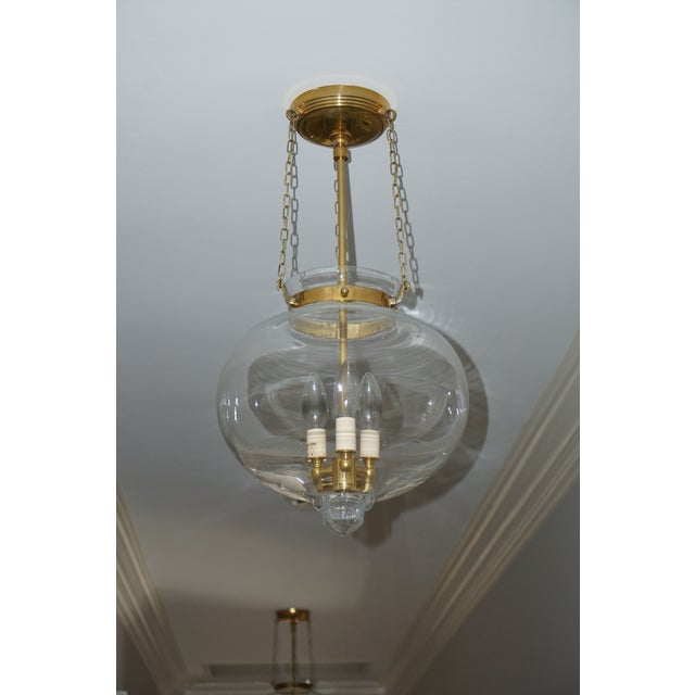 2010s Bell Onion Hand-Blown Glass and Brass Hanging Light Fixture For Sale - Image 5 of 5
