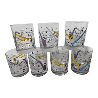 1960s Mid Century Modern Jazz Musician Detailed Cocktail Glasses - Set of 7
