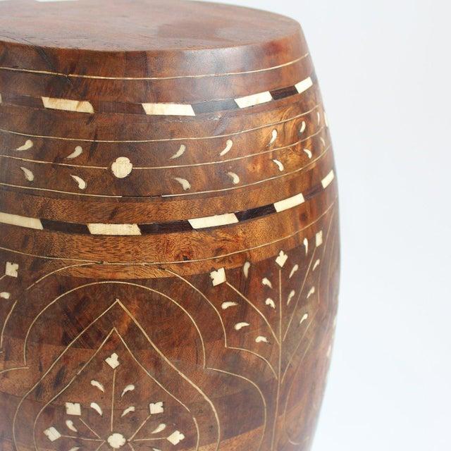 Bone Inlay & Wood Stool - Image 2 of 2
