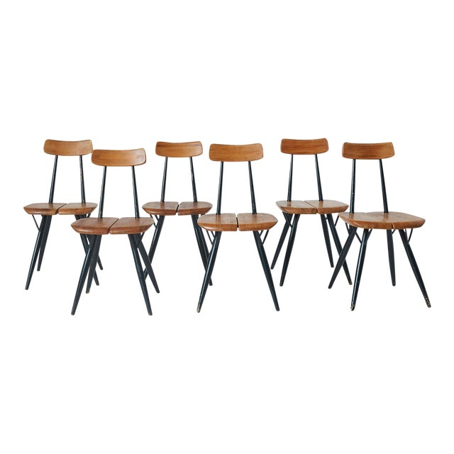 """Pirkka"" Sculptural Pine and Black Lacquer Chairs by Ilmari Tapiovaara - Set of 6 For Sale"