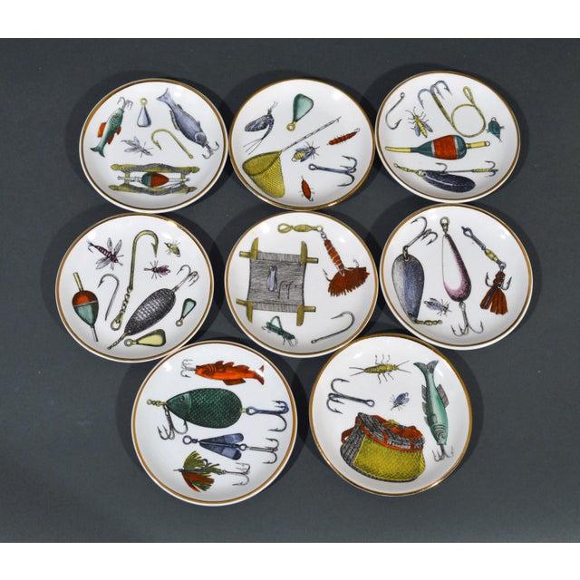 Piero Fornasetti La Pesca Fishing Lures Coaster Set With Original Box For Sale - Image 13 of 13