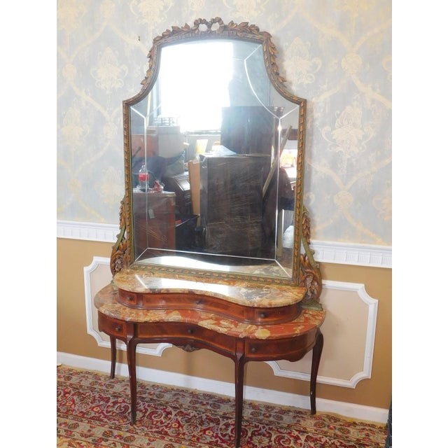 Fine 1920s French inlaid & Banded Mahogany Marble Top Bedroom Dressing Table Vanity w/ Mirror - Image 4 of 11