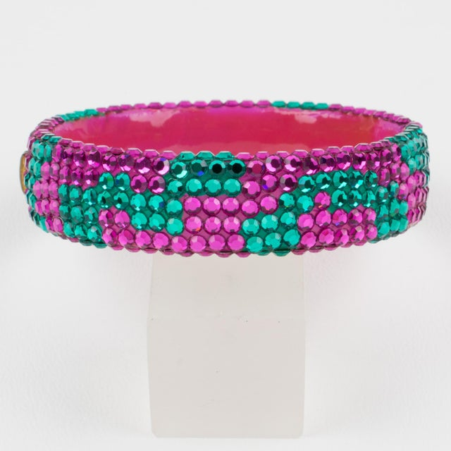 Richard Kerr Richard Kerr Pink Turquoise Jeweled Clamper Bracelet For Sale - Image 4 of 8
