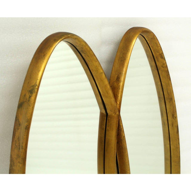 Mid-Century Modern Dual Interlocking Oval Gold Frame Mirror For Sale - Image 3 of 10